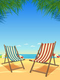Het Strand van de zomer en de Achtergrond van Stoelen vector illustratie