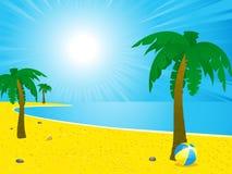 Het strand van de zomer en palmenlandschap Stock Afbeelding
