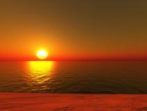 Het strand van de zonsondergang vector illustratie