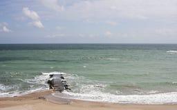 Het strand van de Zwarte Zee in Eforie royalty-vrije stock fotografie