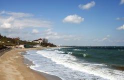 Het strand van de Zwarte Zee in Eforie stock afbeelding