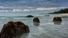 Het Strand van Desaru tijdens zonsopgang. Stock Foto's
