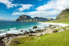 Het strand van Eggum in Noorwegen Stock Foto's