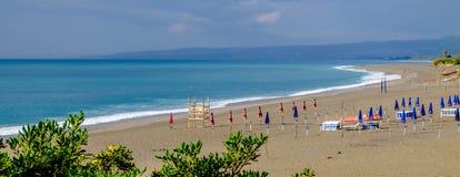 Het strand van Giardininaxos Ionische overzees Stock Foto's
