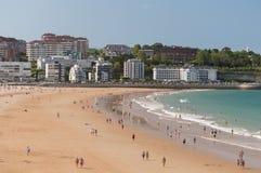 Het strand van Gr Sardinero Stock Afbeelding