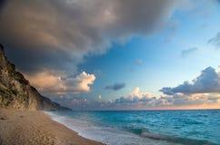 Het strand van Griekenland - van Lefkada - Egremni- Stock Afbeelding