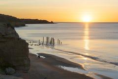 Het Strand van havenwillunga, Zuid-Australië bij zonsondergang Stock Foto's