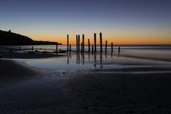 Het Strand van havenwillunga, Zuid-Australië bij zonsondergang Royalty-vrije Stock Afbeelding