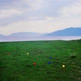 Het strand van het gras met stuk speelgoed ballen Stock Afbeelding