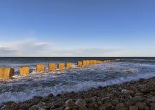 Het strand van het Lossiemouthwesten in de winter. royalty-vrije stock afbeelding