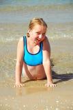 Het strand van het meisje Stock Afbeeldingen