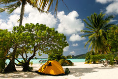 Het strand van het paradijs op Maupiti, Franse Polynesia Royalty-vrije Stock Fotografie