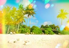 Het strand van het zand met palmen Zonnige blauwe hemel met lichte lekken en Royalty-vrije Stock Foto's
