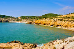 Het Strand van huismort in Sitges, Spanje Royalty-vrije Stock Afbeeldingen