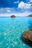 Het Strand van Ibizaaigues Blanques Aguas Blancas in Santa Eulalia Stock Foto