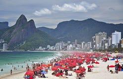 Het strand van Ipanema, Rio de Janeiro Stock Foto's