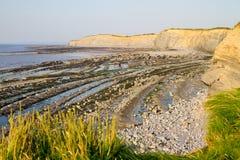 Het strand van Kilve in het Westen Somerset at low tide Royalty-vrije Stock Afbeeldingen