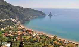 Het strand van Korfu stock foto's