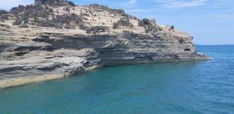 Het Strand van Korfu, Porto Timoni Afionas stock foto