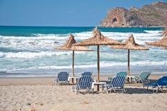 Het strand van Kreta Stock Afbeeldingen