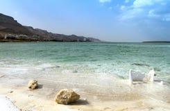 Het strand van het kristalzout op Dode Overzeese kust, Isra?l stock afbeelding