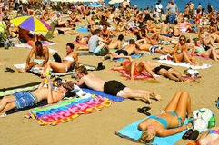 Het Strand van La Barceloneta, in Barcelona, Spanje Stock Fotografie