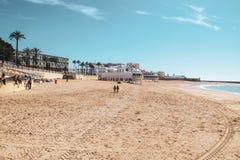 Het Strand van La Caleta in Cadiz, Spanje royalty-vrije stock foto