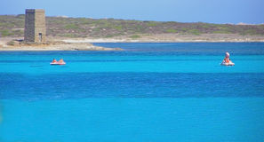 Het Strand van La Pelosa in Sardinige - Italië stock foto's