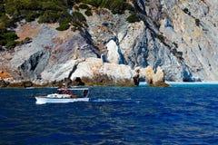 Het strand van Lalaria, Skiathos Griekenland Stock Foto