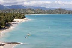 Het strand van Lanikai, Oahu, Hawaï royalty-vrije stock afbeeldingen