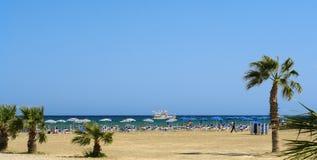 Het strand van Larnaka Stock Foto's