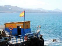 Het strand van Las Palmas DE Gran Canaria en oud vissershuis stock afbeelding