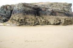 Het strand van Lascatedrales in Galicië, Spanje Stock Foto's