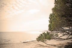 Het strand van le Bombarde in uitstekend effect Royalty-vrije Stock Fotografie