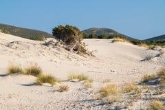 Het strand van Le Dune, Porto Pino, Sardinige, Italië Stock Afbeelding