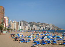 Het Strand van Levante, Benidorm. Stock Afbeeldingen