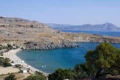 Het strand van Lindos - Griekenland royalty-vrije stock afbeeldingen