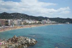 Het strand van Lloret de Mar, Spanje Stock Foto's