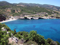 Het strand van Makrisgialos, het eiland van Zakynthos stock afbeelding