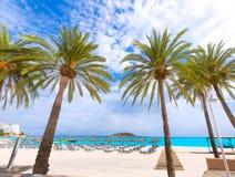 Het strand van Mallorca Magaluf Magalluf in Calvia Mallorca Stock Afbeeldingen