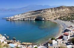 Het strand van Matala bij het eiland van Kreta Stock Afbeelding