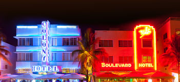Het Strand van Miami bij nacht Royalty-vrije Stock Foto's