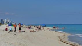 Het Strand van Miami in December stock videobeelden