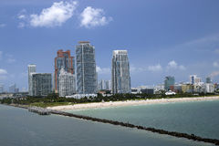 Het Strand van Miami in Florida Miami, Florida, kust, kust, eiland, vrije tijd, tropische flats, reis, waterkant, bestemmingen, z Stock Foto
