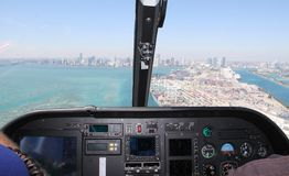 Het strand van Miami van de lucht Stock Foto