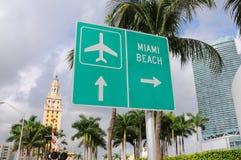 Het Strand van Miami van het teken van de straat Royalty-vrije Stock Foto's