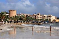 Het strand van Mondello, Iasland van Sicilië Stock Afbeelding