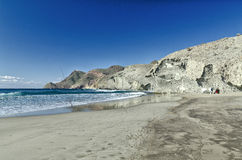 Het strand van Monsul, het nationale park van Cabo DE Gata, Almeria Royalty-vrije Stock Foto's