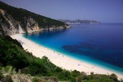 Het strand van Myrtos Stock Foto's