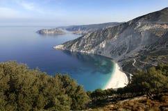 Het strand van Myrtos, Kefalonia Stock Foto